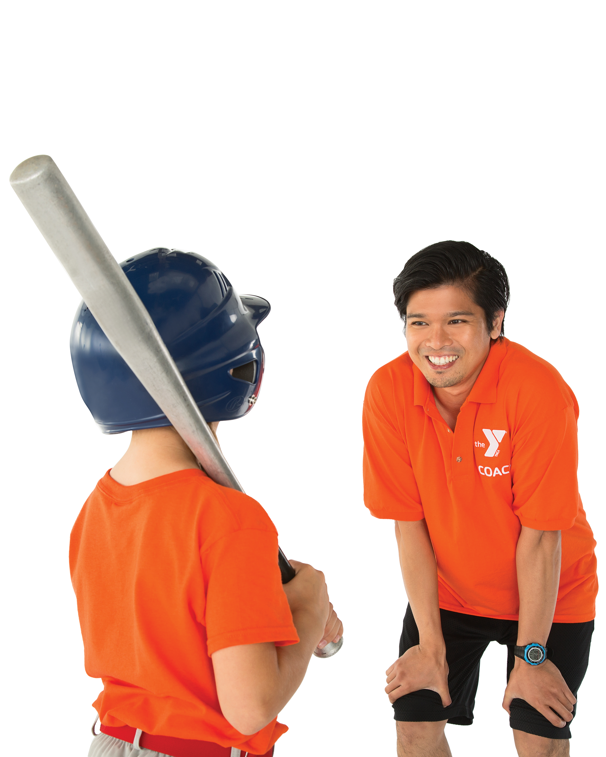 A child with his back to the camera holding a baseball bat, a man smiling and giving him instruction
