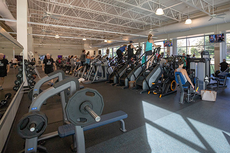 Photo of the fitness floor at the Semones Family YMCA